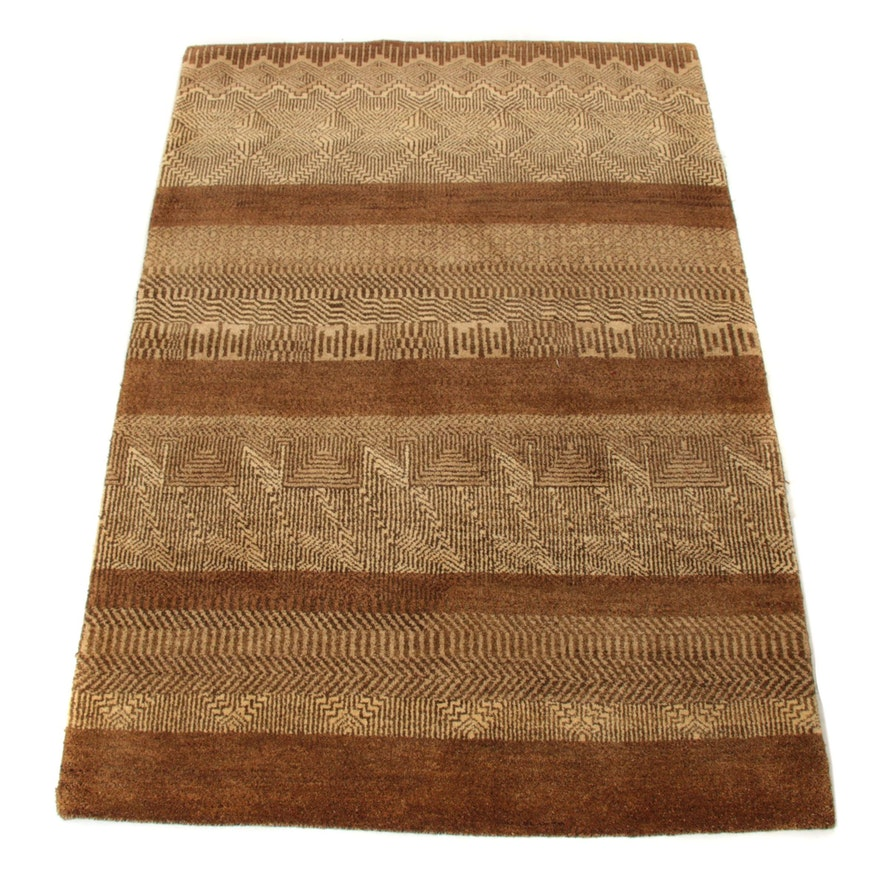 4'1 x 6'0 Hand-Knotted Indo-Persian Gabbeh Rug, 2000s