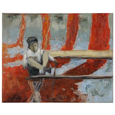 Garncarek Aleksander Oil Painting of Boy on Park Bench