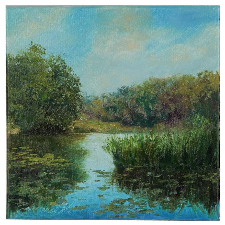 Garncarek Aleksander Landscape Oil Painting of River Scene