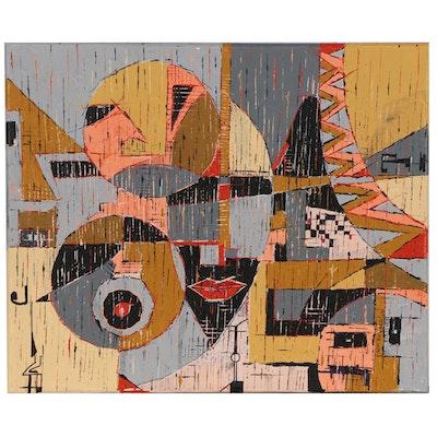 """Oluseyi Soyege Acrylic Painting """"Never Alone"""""""