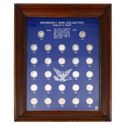 Framed Roosevelt Dime Collection, 1946 to 1971