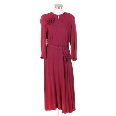 Pleated Rayon Crepe Dinner Dress with Embellished Pockets, 1940s Vintage