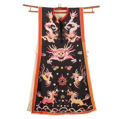 Chinese Dragon and Phoenix Embroidered Tabard Style Vest