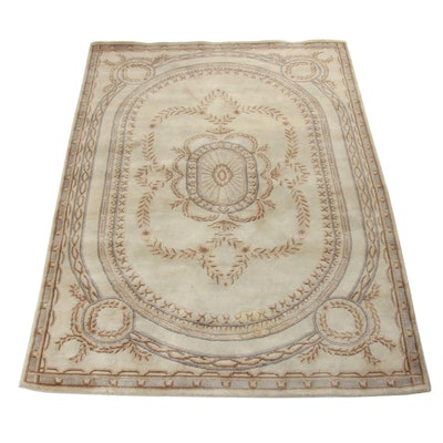 5'8 x 8'2 Hand-Knotted Sino-French Savonnerie Rug