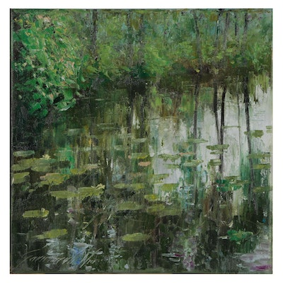 Garncarek Aleksander Landscape Oil Painting of Lily Pond