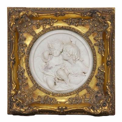 Enrico Braga Italian Marble Cherub Wall Plaque, Late 19th/Early 20th Century