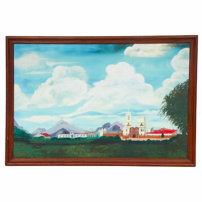 Catholic Mission Landscape Oil Painting, Mid-20th Century