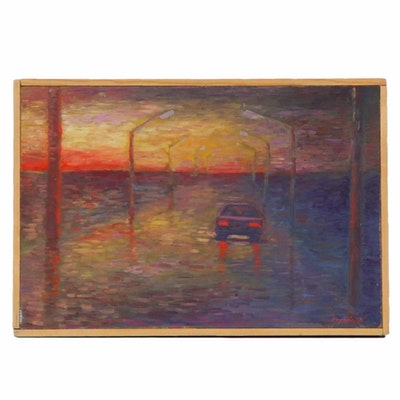 Farnoosh Lanjani Car Scene Oil Painting
