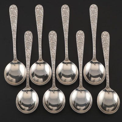 "S. Kirk & Son ""Repoussé"" Sterling Silver Soup Spoons, Early/Mid 20th Century"