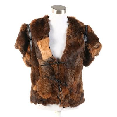 Patchwork Rabbit Fur Vest with Leather Trim
