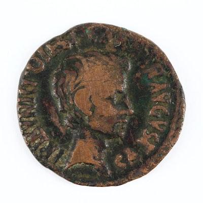 Ancient Roman AE Dupondius Coin of Augustus, ca. 16 B.C.