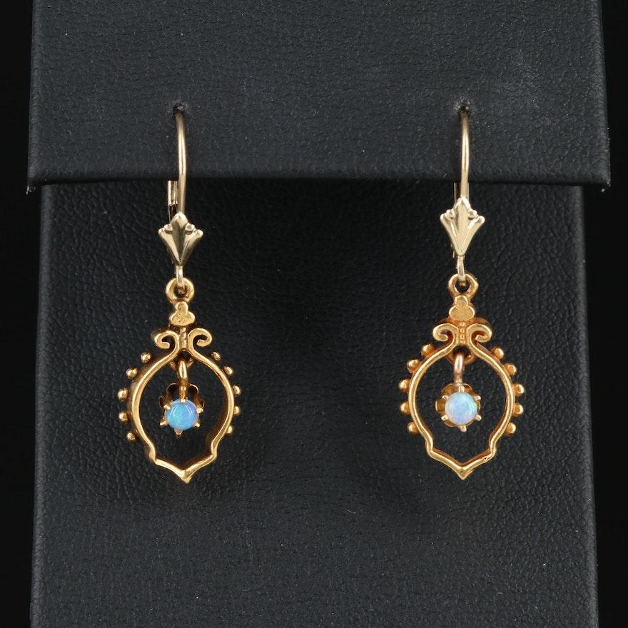14K Yellow Gold Opal Dangle Earrings