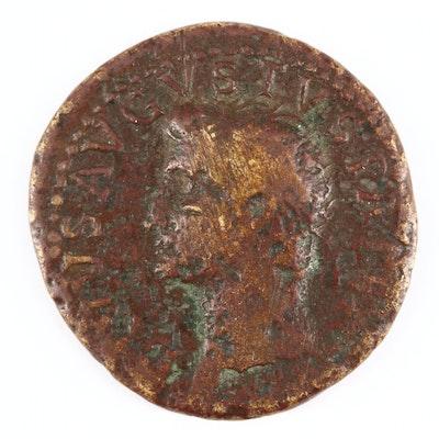 Ancient Roman Imperial AE Dupondius Coin of Divus Augustus, ca. 22 A.D.