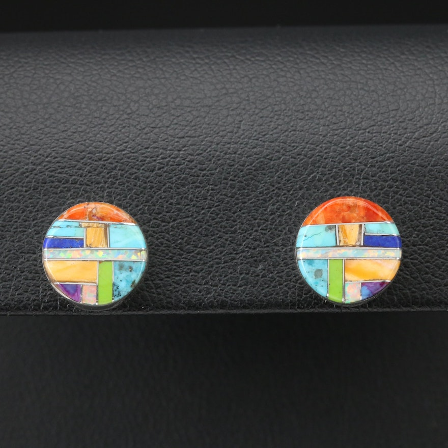 Southwestern Style Sterling Silver Turquoise and Gemstone Stud Earrings