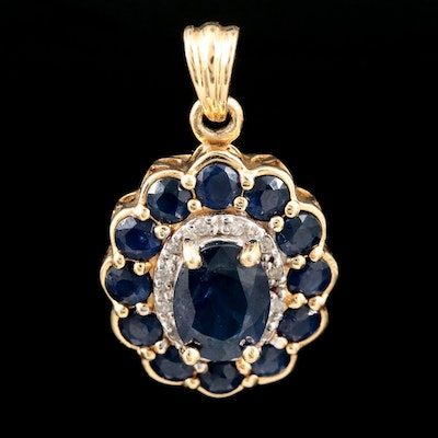 14K Yellow Gold Sapphire and Diamond Pendant with 1.07 CT Sapphire Center