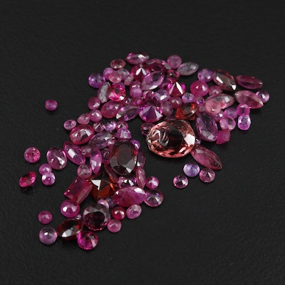 Loose 12.95 CTW Red Gemstone Selection Including Ruby, Garnet, and Tourmaline