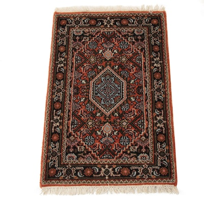 1'10 x 3'1 Hand-Knotted Indo-Persian Bijar Rug, 2010s