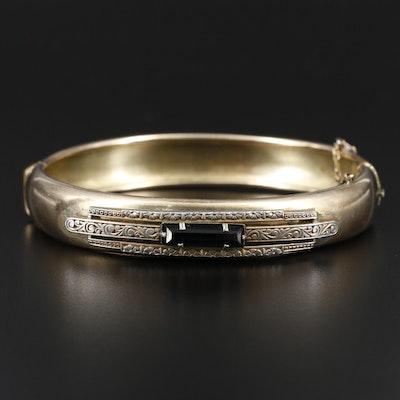 Vintage Glass Hinged Bangle Bracelet