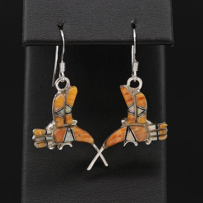 Southwestern Sterling Spiny Oyster and Synthetic Opal Hummingbird Earrings