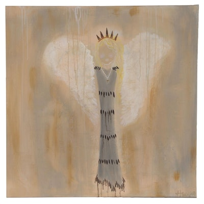 Jordan Howell Acrylic Painting of Stylized Angel