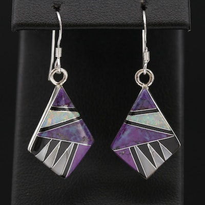 Southwestern Sterling Synthetic Opal, Turquoise and Mother of Pearl Earrings