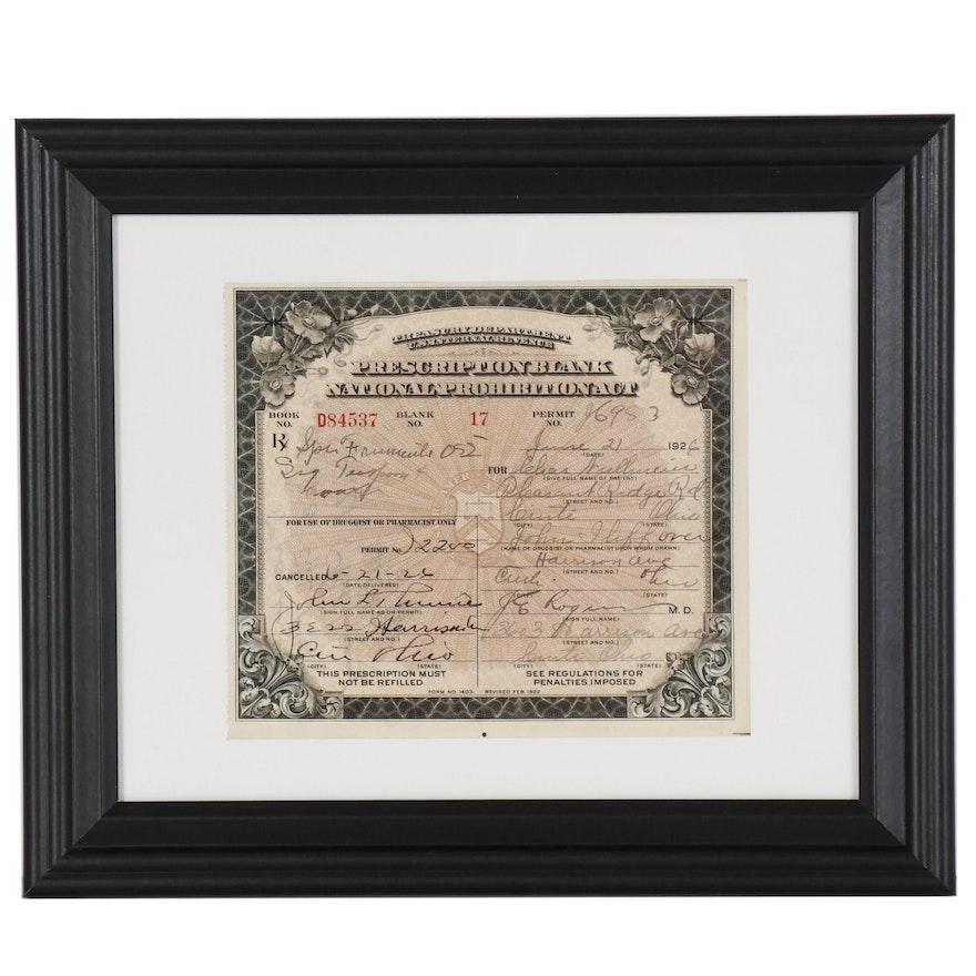 Prohibition Era Prescription for Medicinal Liquor, Cincinnati, Ohio, 1926