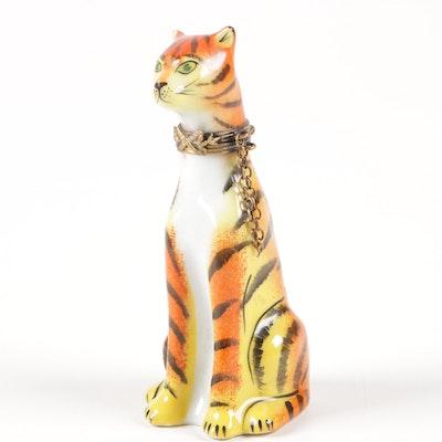 """La Gloriette """"Tiger"""" Hand-Painted Porcelain Trinket Box"""