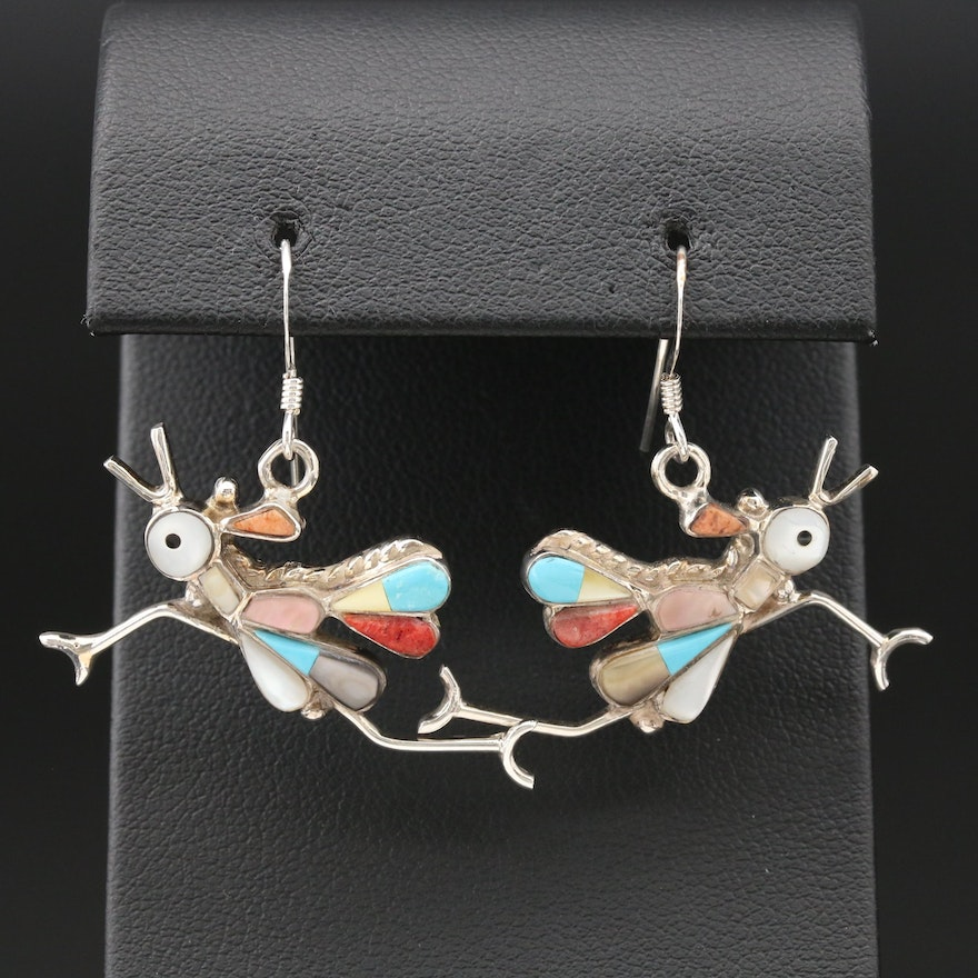 Southwestern Sterling Mother of Pearl, Turquoise and Coral Roadrunner Earrings