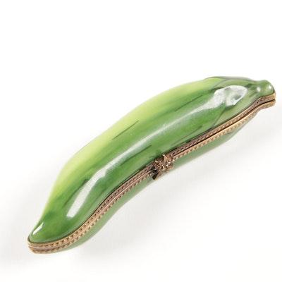 "Gérard Ribierre Limoges ""Pea Pod"" Hand-Painted Trinket Box"
