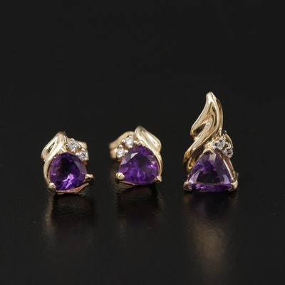 14K Yellow Gold Amethyst and Diamond Pendant and Earring Set