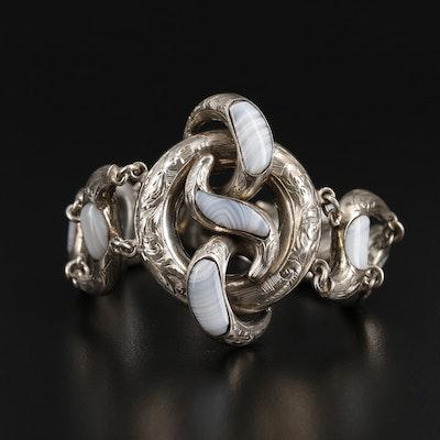 Vintage Sterling Silver Agate Bracelet