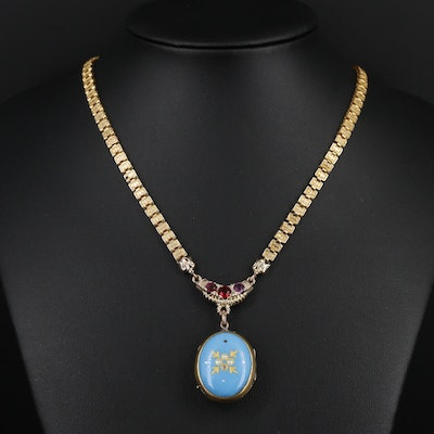 Victorian Enamel and Glass Book Chain Link Necklace
