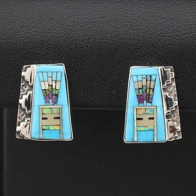 Sterling Silver Turquoise, Mother of Pearl and Synthetic Opal Earrings