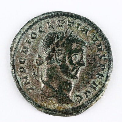 Ancient Roman Imperial AE Silvered Follis Coin of Diocletian, ca. 294 A.D.