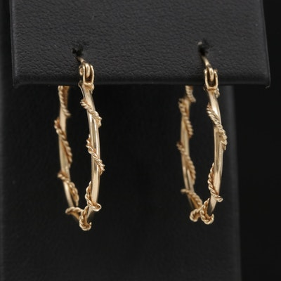 14K Yellow Gold Twisted Wire Hoop Earrings