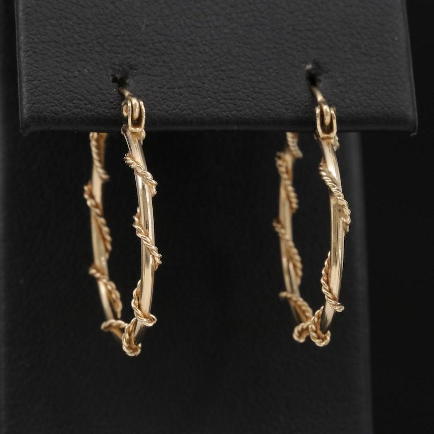 14K Yellow Gold Twisted Wire Hoop Earrings