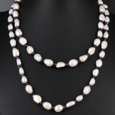 Cultured Pearl and Amethyst Strand Necklace with Sterling Silver Clasp