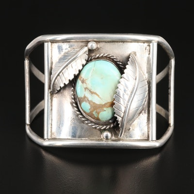 Vintage Southwestern Style Sterling Silver Turquoise Signed Cuff Bracelet