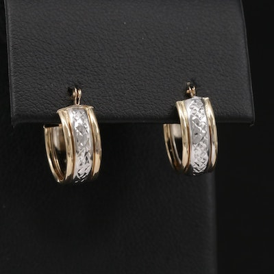 14K Yellow and White Gold Hoop Textured Earrings