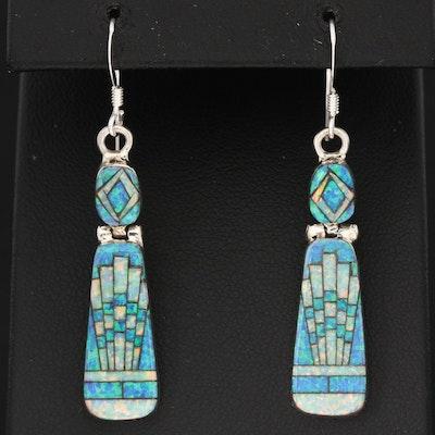 Southwestern Style Sterling Silver Opal Dangle Earrings