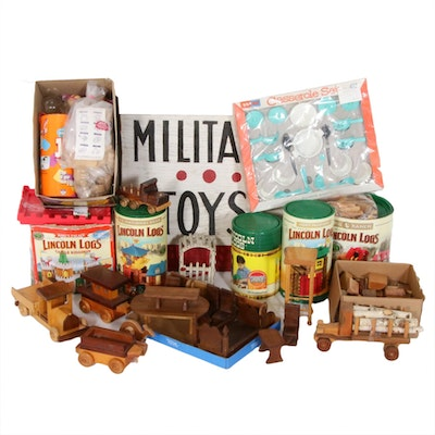 Lincoln Logs, Wooden Vehicles and Other Vintage Toys