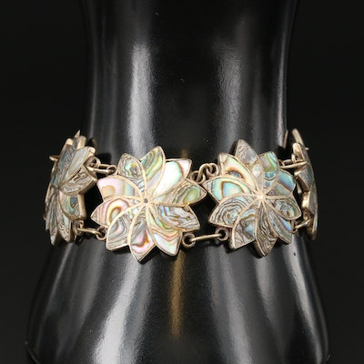 Mexican Sterling Silver Abalone Floral Motif Bracelet