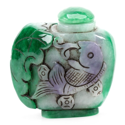 Chinese Carved Dyed Jadeite Snuff Bottle with Fish