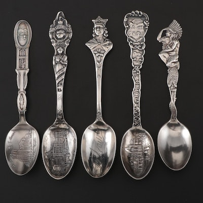Sterling Silver Souvenir Spoons Including Ohio and Washington D.C.