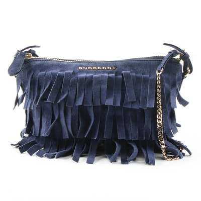 Burberry Peyton Blue Suede Fringe Crossbody Bag