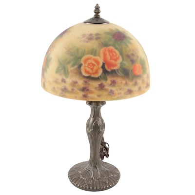Art Nouveau Style Metal Table Lamp with Reverse Painted Frosted Glass Shade