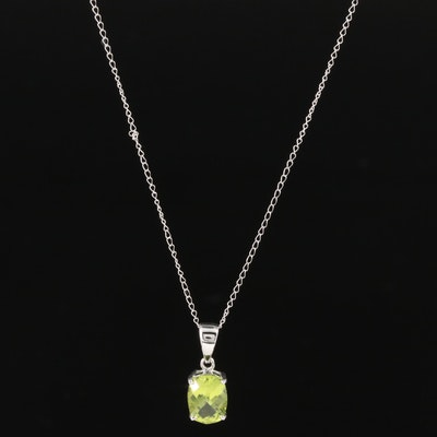 14K White Gold Peridot Pendant on Curb Chain Necklace