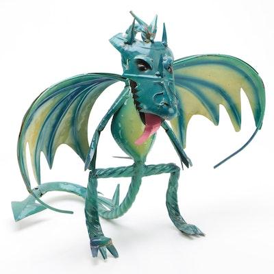 Mexican Folk Art Scrap Metal Dragon Sculpture