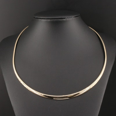 14K Yellow Gold Graduated Omega Necklace