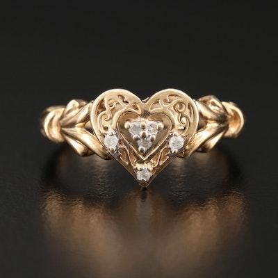 10K Yellow Gold Diamond Heart Ring